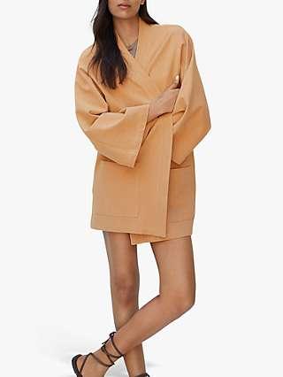 Mango Linen Blend Kimono Style Jacket, Peach
