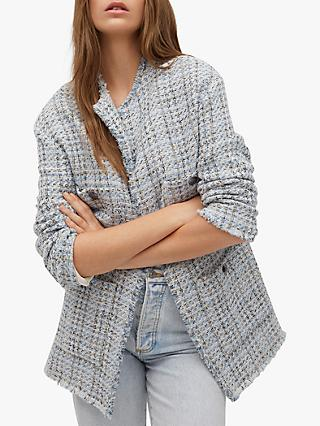 Mango Pocket Tweed Jacket, Sky Blue