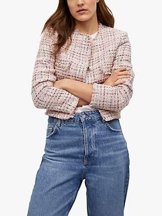 Mango Button Front Tweed Jacket