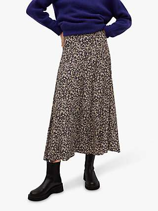 Mango Floral Print Flared Midi Skirt, Purple/Multi