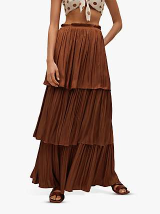 Mango Tiered Ruffle Maxi Skirt, Brown