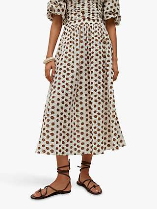 Mango Cotton Spotted Midi Skirt, White