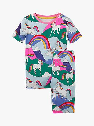 Mini Boden Kids' Short John Unicorn Print Pyjamas, Multi