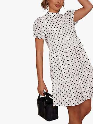 Chi Chi London Polka Dot Tiered Mini Dress, White