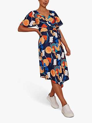 Chi Chi London Abstract Print Midi Wrap Day Dress, Navy/Multi