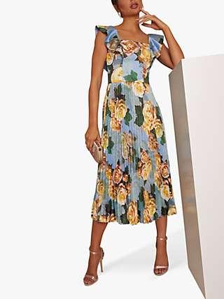 Chi Chi London Floral Print Ruffle Dress, Blue/Multi