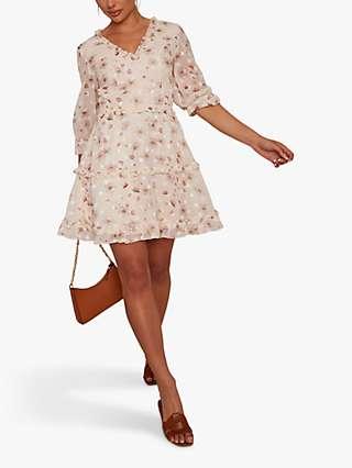 Chi Chi London Ruffle Trim Floral Mini Dress, Cream