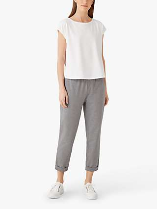 EILEEN FISHER Organic Cotton Blend Slim Cropped Trousers, Moon