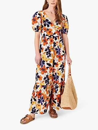 Monsoon Floral V-Neck Maxi Dress, Orange