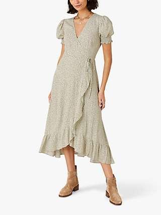 Monsoon Ditsy Wrap Midi Dress, Green