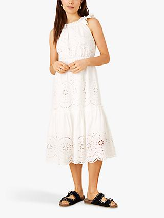 Monsoon Shiffley Broderie Midi Dress, White