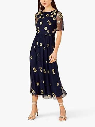 Monsoon Susan Sunflower Midi Dress, Navy