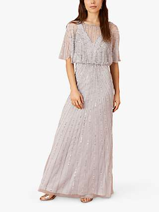 Monsoon Taylor Embroidered Maxi Dress, Grey