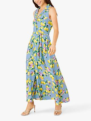 Monsoon Libra Lemon Maxi Dress, Blue