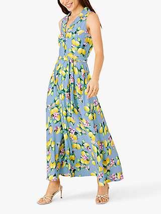 Monsoon Libra Lemon Maxi Dress, Blue