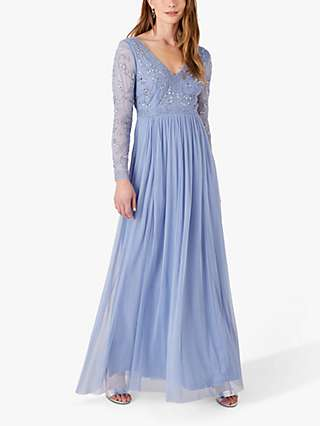 Monsoon Leela Embellished Maxi Dress, Blue