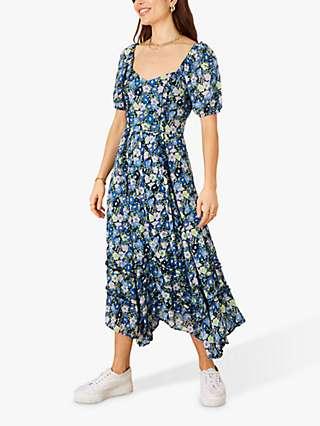 Monsoon Murlough Floral Midi Dress, Navy