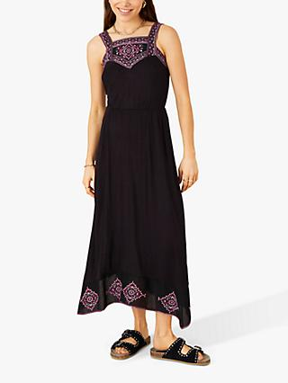 Monsoon Embroidered Jersey Hanky Hem Dress, Black