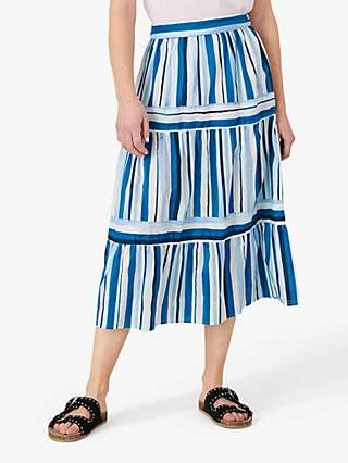Monsoon Stripe Print Tiered Midi Skirt, Blue