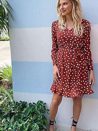 Sosandar Polka Dot Print Belted Shift Dress, Red