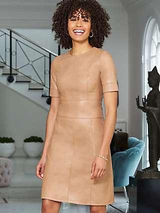 Sosandar Faux Leather Panelled Shift Dress, Camel