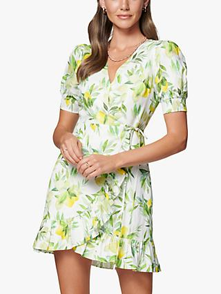Forever New Boston Lemon Print Wrap Mini Dress, Summer Lemons