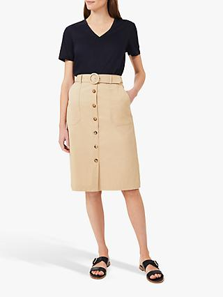 Hobbs Adaline Button Knee Length Skirt, Sand