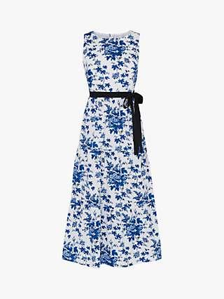 L.K.Bennett x Royal Ascot Hodgkin Floral Print Dress, Blue/White