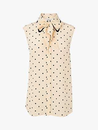 L.K.Bennett x Royal Ascot Koller Polka Dot Silk Top, Cream/Black