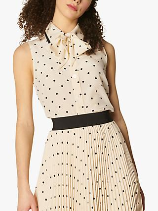 L.K.Bennett x Royal Ascot Koller Polka Dot Silk Top, Cream/Black
