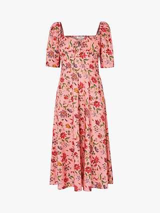 L.K.Bennett x Royal Ascot Phelia Floral Print Dress, Pink/Multi