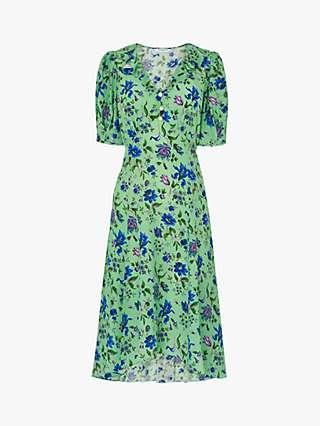 L.K.Bennett x Royal Ascot Pami Floral Print Silk Dress, Green/Multi