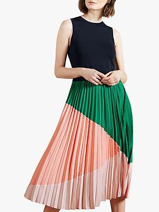 Ted Baker Indiggo Pleated Colour Block Midi Dress, Navy