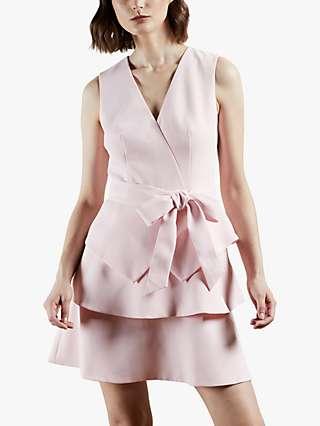 Ted Baker Reinah Sleeveless Tiered Mini Dress, Pink