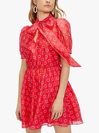 Ted Baker Dottyy Circle Print Mini Dress, Pink