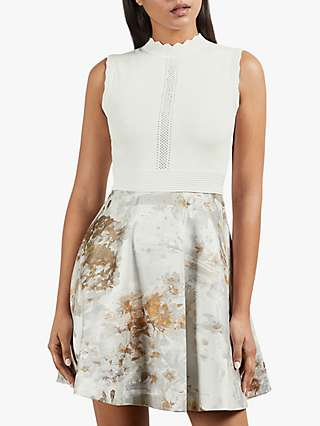 Ted Baker Oliivee Jacquard Floral Mini Dress, White/Multi