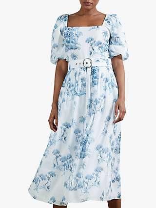 Ted Baker Cressi Giraffe Forest Graphic Dress, White/Blue