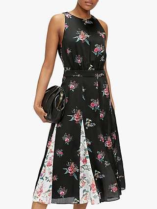 Ted Baker Liilo Floral Contrast Pleat Midi Dress, Black