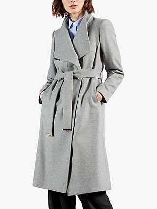 Ted Baker Rose Belted Wool Blend Coat, Grey