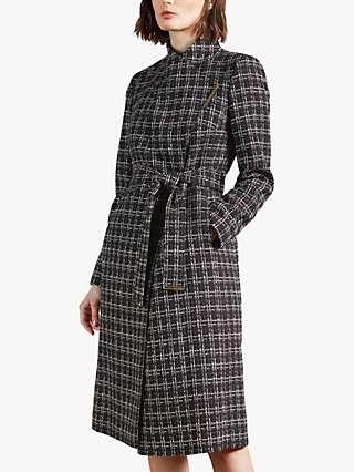 Ted Baker Griffyn Bouclé Check Coat, Black