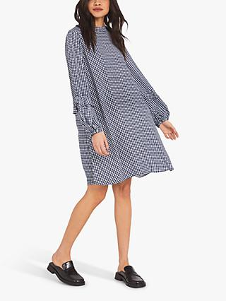 Finery Rose Gingham Print Dress, Navy/Ivory