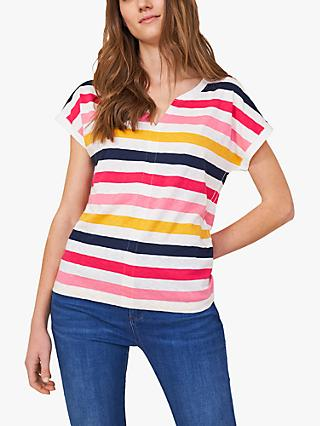 White Stuff Nelly Striped V-Neck T-Shirt, Pink/Multi