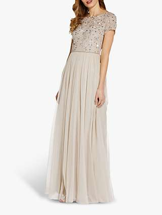 Adrianna Papell Floral Tulle Dress, Biscotti