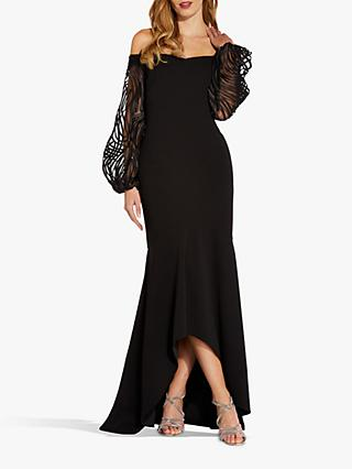 Adrianna Papell Embroidered Sleeve Off Shoulder Maxi Gown, Black