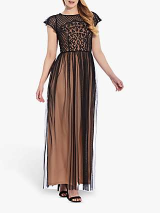 Hailey Logan by Adrianna Papell Beaded Maxi Dress, Black/Nude
