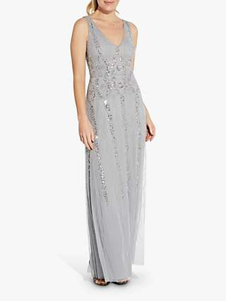 Hailey Logan by Adrianna Papell Sequin V Neck Ball Gown, Silver Mist