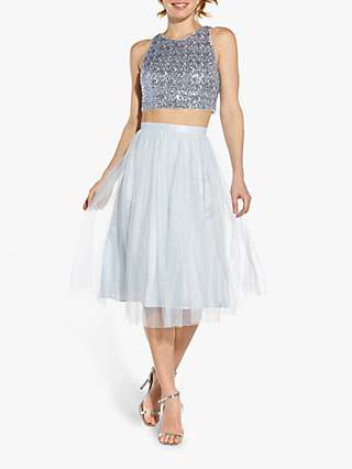 Hailey Logan by Adrianna Papell Sequin Crop Halter Top