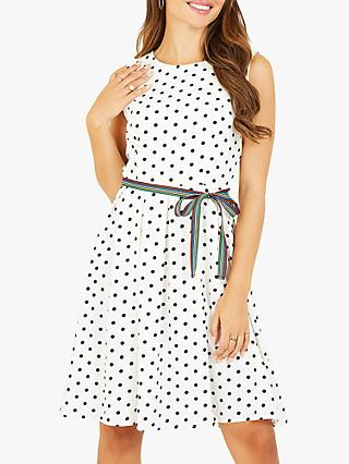 Yumi Spot Print Skater Dress, White