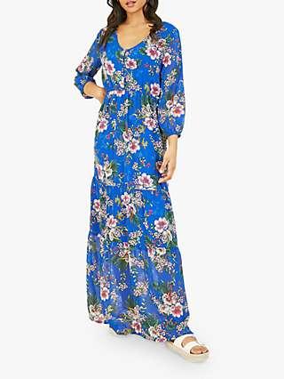 Yumi Floral Print Tiered Maxi Dress, Blue