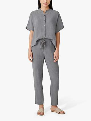 EILEEN FISHER Organic Linen Check Tapered Trousers